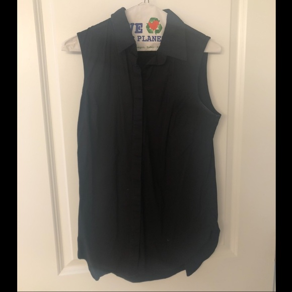 J. Crew Factory Tops - J Crew Sleeveless Button Down Black Top
